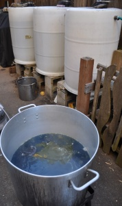 Rain barrel system and boiling batiks at the front of the studio_rdz.jpg
