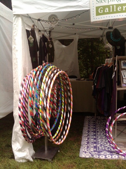 (c) 2011 Sleeping Bee Studio - Rin's HOOPS - NWSS booth - all rights reserved RCJAE, LLC -- large hoops, batik clothing, vinyl stickers